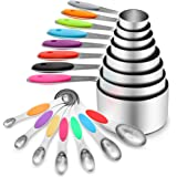 16 Pcs Stainless Steel Measuring Cups and Spoons Set, YIHONG Metal Measuring Cups and Spoons with Silicone Handle for Cooking