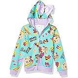 JoJo Siwa Girls Emoji Characters Zip Up Hoodie with Bow on Hood Long Sleeve Hooded Sweatshirt - Green