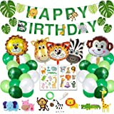 Jungle Theme Party Supplies - Happy Birthday Banner - Jungle Theme Party Decorations for Boys - Jungle Theme Balloons for 1 B