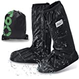 [ANZOBEN] シューズカバー 防水 靴カバー 雪 雨 水 泥避け 梅雨対策 レインカバー 滑り止め 耐摩耗 収納袋付き 携帯可 通勤 通学 自転車用 男女兼用 靴の保護 履きやすい ロング