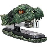 Ebros Gift Legendary Green Earth Fire Dragon Head Stapler Light Duty Office Desktop Accessory Home Decor Resin Stationery Dun