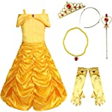 FEESHOW Kids Girls Off Shoulder Princess Belle Yellow Party Costume Dress-Up Set Yellow with Necklace 110