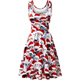 HUHOT Christmas Dresses, Womens Santa Claus Printed Gifts Xmas Sleeveless Ugly Party Dress