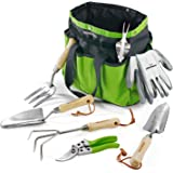 WORKPRO Garden Tools Set, 7 Piece, Stainless Steel Heavy Duty Gardening Tools with Wooden Handle, Including Garden Tote, Glov