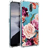 Osophter for Nokia 2.4 Case Flower Floral for Girls Women Shock-Absorption Flexible TPU Rubber Phone Cover for Nokia 2.4(Purp