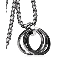 [Freate] ネックレス メンズ ステンレス シルバー (3連リング)