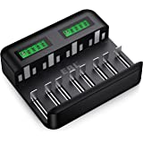 EBL LCD 8 Bay Universal Battery Charger for 1.2V AA AAA C D Rechargeable Batteries with USB Input, Multiple Battery Charger w