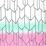 日本紐釦貿易 矢絣 バタフライグラデーション NBK 生地 布 コスプレ 白×緑×桃 巾約112cm×50cm切売カット IBK99078-6A-50CM
