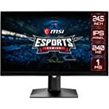 """MSI 24.5"""" FHD (1920 x 1080) Non-glare with Super Narrow Bezel 240Hz 1ms 16:9 HDMI/DP/USB Height Adjustment G-Sync Compatible"""