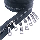 Goyunwell #5 Zippers by The Yard for Sewing 10 Yard Black Zipper Tape by The Yard Black Teeth #5 with 20Pcs Gunmetal Slider P