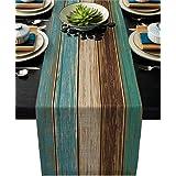 Vandarllin Cotton Linen Table Runner Dresser Scarves Retro Rustic Barn Wood&Teal Green Brown Non-Slip Burlap Rectangle Table