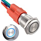 "APIELE 16mm Latching Push Button Switch 12V DC On Off Stainless Steel with LED Angel Eye Head for 0.63"" Mounting Hole with Wi"