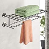 24'' Towel Rack, Alfaview Stainless Steel Metal Towel Bar, Wall-Mounted Towel Holder Organizer Towel Shelf Storage Rail for B