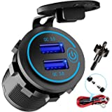 12V USB Outlet, AlfredDireck Dual Quick Charge 3.0 USB Car Charger with Switch, 36W USB Outlet Fast Charger Waterproof Power