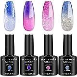 Senvenski Color Changing Gel Nail Polish Blue Pink Purple Lavender Lilac Glitter Starrily Crystal Mood Chameleon Thermal Temp