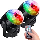 [2-Pack] Sound Activated Party Lights with Remote Control Dj Lighting RBG Disco Ball Light Strobe Lamp 7 Modes Stage Par Ligh