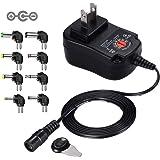 負極性 Punasi チャージャー 3V-12V 電圧調整 DCアダプター ユニバーサル 変換プラグ AC充電器 ACアダプター メデラ パンプ スピーカー LEDライト ルーター ケーブルセット (12w)コネクタの極性:インナーマイナス(ー)、ア