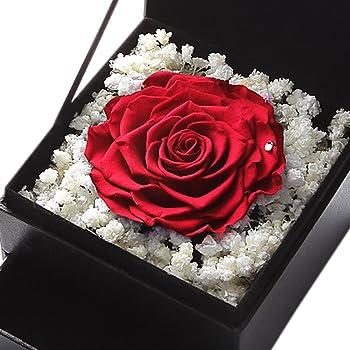 TEATSIGHT プリザーブドフラワー フラワーボックス 引き出し付き バラ直径9cm以上 (バラ レッド )