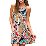 Women's Floral Printed Casual Sleeveless Shirt Dress Casual Long Flowy Tunic Tops with Pockets