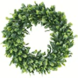 """Geboor Faux Boxwood Wreath, 15"""" Artificial Green Leaves Wreath for Front Door Hanging Wall Windows Decoration Holiday Festiva"""