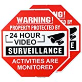 METERIO 24 Hour Video Surveillance Sign, 2 Pack CCTV Sign Security Alert Sign- All Activities are Monitored, Aluminum Octagon