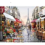 Painting by Numbers for Adult, Eiffel Tower Street Landscape Oil Paint Kit on Canvas for Kids Beginner, 16X20 Inch Frameless