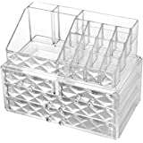 AUSELECT Cosmetic Makeup & Jewelry Organiser Clear Acrylic 20 Section Transparent Black Dressing Table Holder Stackable or Fr