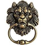 QWORK Antique Bronze Lion Door Handle Classical Lion Head Knocker
