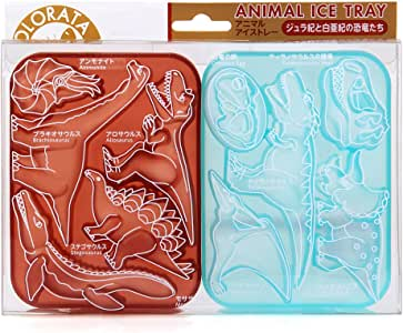 カロラータ アニマル アイストレー (動物) シリコン チョコレート 型 [食洗機可能] ジュラ紀と白亜紀の恐竜たち (ブラウン×ブルー) 約10×13.5×2.8cm