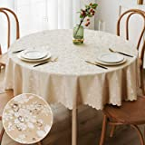 smiry Round Waterproof Tablecloth - Stain-Proof Oil-Proof Vinyl Table Cloth Washable Floral Pattern Table Cover for Kitchen a