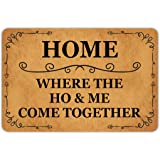 Front Door Mat Welcome Mat Home Where The Ho & Me Come Together Rubber Non Slip Backing Funny Doormat Indoor Outdoor Rug 23.6