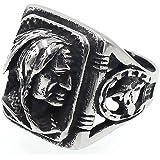 JAJAFOOK Mens Vintage Classic Stainless Steel Ring Biker Native American Indian Women Head Rings Silver Black Band