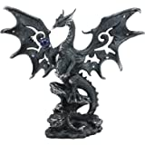"Ebros Draco Fantasy Gothic Dragon with Blue Orb Statue 8"" Tall Land of The Dragons Home Decor Dragon Beast Sculpture"