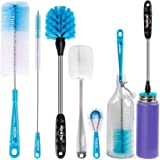 Holikme 5 Pack Bottle Brush Cleaning Set,Long Handle Bottle Cleaner for Washing Narrow Neck Beer Bottles, Wine Decanter, Narr