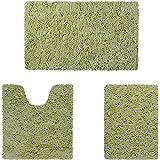 HOMEIDEAS 3 Pieces Bathroom Rugs Set Sage Green, Extra Soft Chenille Bath Rugs Mat, Absorbent Plush Shaggy Bath Rugs, Machine