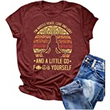 Qianxitang Women's Funny Graphic Tees Round Neck Short Sleeve Letter Print Blessing T Shirt Tops