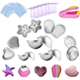 Kyerivs Metal Bath Bomb Moulds Large 14 PCS(6 Hemispheres, 2 Starfish, 2 Heart, 2 Shell, 2 Scallop) with 100 Shrink Wrap Bags