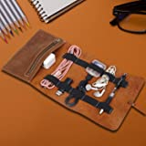 QEES Travel Leather Cord Roll, Travel Accessories for Men, Electronics Travel Organizer, Charger Roll Organizer Electronics A