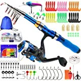 Kilitn Kids Fishing Rod, Portable Telescopic Fishing Pole and Reel Combos and String with Fishing Line Full Kits, Youth Fishi