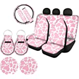 WELLFLYHOM Pink Cow Print Car Seat Cover Protector Front & Rear Seat Cover SUV Car Full Set 11-pcs with Steering Wheel Cover