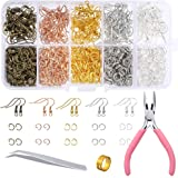 PP OPOUNT 1128 Pieces Earring Making Supplies Kit with Earring Hooks, Jump Rings, Pliers, Tweezers, Jump Ring Opener for Earr