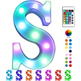Colorful LED Marquee Letter Lights with Remote - Color Changing Light Up Alphabet Signs - Party Bar Letters with Lights Decor