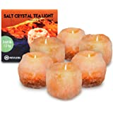 Nevlers Natural Handcrafted Himalayan Salt Tealight Candle Holders - 6 Pack Tea Light Holders - Great Enhancement to Your Hom