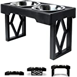 """Pet Zone Designer Diner Adjustable Elevated Dog Bowls - Adjusts to 3 Heights, 2.75"""", 8"""", & 12'' (Raised Dog Dish with Double"""