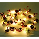 Artiflr 6.7FT Christmas Garland with Lights, 20 LED Red Berry Pine Cone Garland Lights Battery Operated, led Garland String L