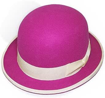 ボーラー FUJIコラボレーション フェルトボーラーハット ダービーハット 山高帽 ピンク系