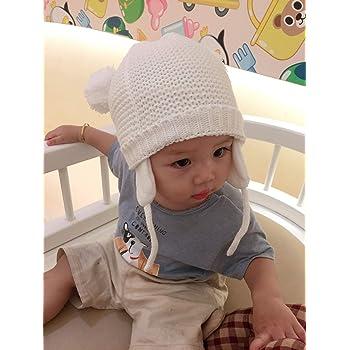 e339c90cd86afa ニット帽 子供 ベビーニット帽 赤ちゃん 男の子 女の子 耳保護付き 手編み風 無地 ポンポン