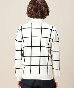 Wool Windowpane Crewneck Sweater 1213-117-3000: White