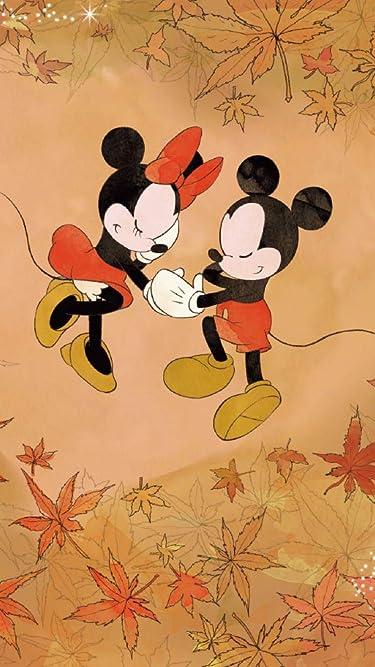 ディズニー  iPhone/Androidスマホ壁紙(540×960)-1 - 紅葉に囲まれたミッキーとミニー
