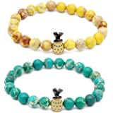 "Gemfeel Cubic Zirconia Pineapple Couple Bracelets 8mm Black Onyx & Howlite Lovers' Bracelets, 7.6""+7.2"""
